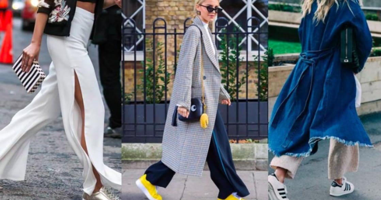 風衣、套裝、針織寬褲!球鞋穿搭的優雅率性風格