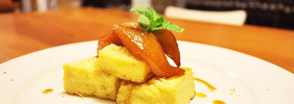 美味料理食譜:法式土司佐焦糖白蘭地冰梨