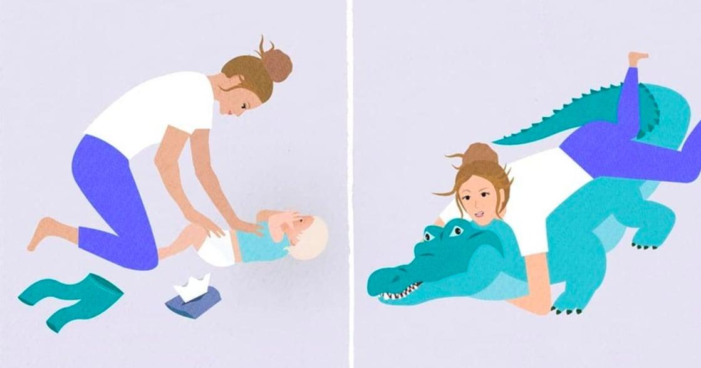 「幫你換尿布,簡直要了你的命?」澳洲「當媽一定懂」療癒 IG 插畫