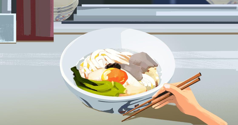 【吃與愛】肉蛋菜烏龍麵:白衣黑裙,成長的滋味是清淡而甘美