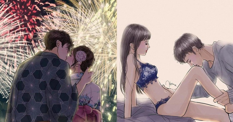 4 位日本人氣 IG 插畫家,畫出情侶情慾與感性的 10 個瞬間