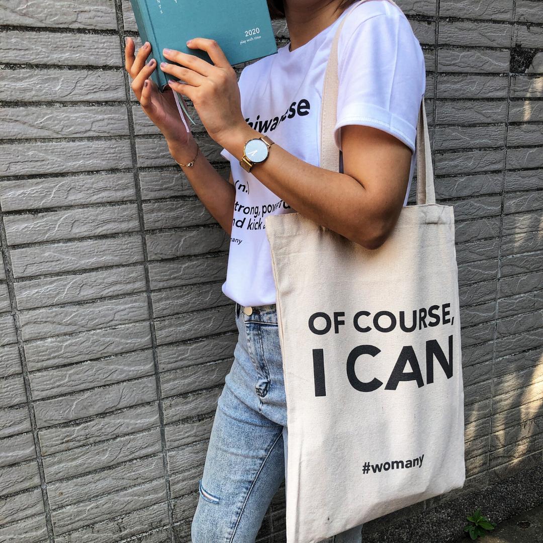 【限時優惠】台灣女生 T-shirt + OF COURSE I CAN 女力帆布袋