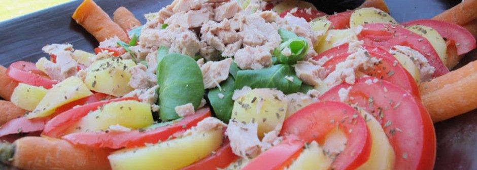 美味料理食譜:低熱量!水煮鮪魚番茄馬鈴薯蘿蔔沙拉