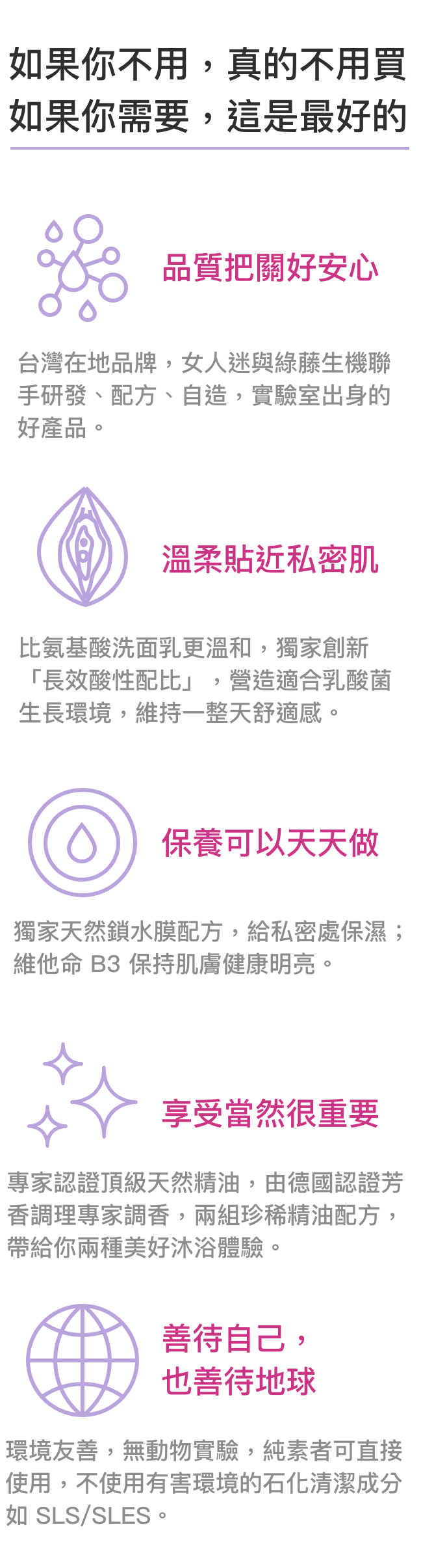 就是用料這麼實在,才敢說它是一瓶最美好的私密沐浴露- 台灣品牌,實驗室出身|由女人迷與綠藤生機聯手研發、配方、自造的好產品。- 比氨基酸洗面乳更溫和|獨家創新「長效酸性配比」,營造適合乳酸菌生長環境,維持一整天舒適感。- 改善困擾,保濕、保養|獨家天然鎖水膜配方,給私密處保濕;維他命 B3 保持肌膚健康明亮。- 環境友善,善待地球|無動物實驗,純素者可直接使用,不使用有害環境的石化清潔成分如 SLS/SLES。- 專家認證頂級天然精油|由德國認證芳香調理專家調香,兩組珍稀精油配方,帶給你兩種美好沐浴體驗。