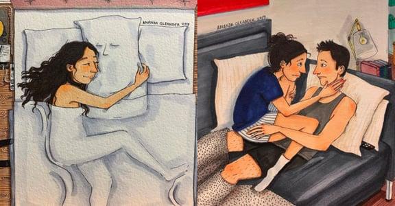 「抱著枕頭,假裝是你陪我入睡」美國遠距離情侶插畫集:愛有甜蜜也有心碎