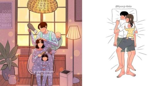 永遠把妻子放前面!韓國戀愛感爸爸插畫:「孩子會長大,而妳才是陪伴我一生的人」