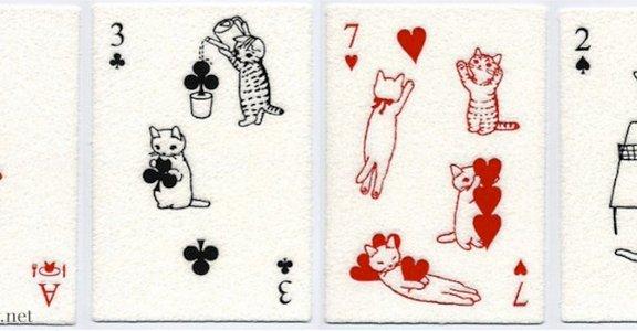 當貓咪打起撲克牌!超可愛日本療癒系明信片