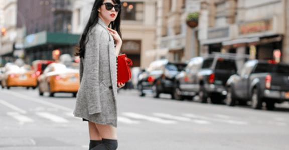 紐約穿搭靈感:黑白灰裡的一抹紅