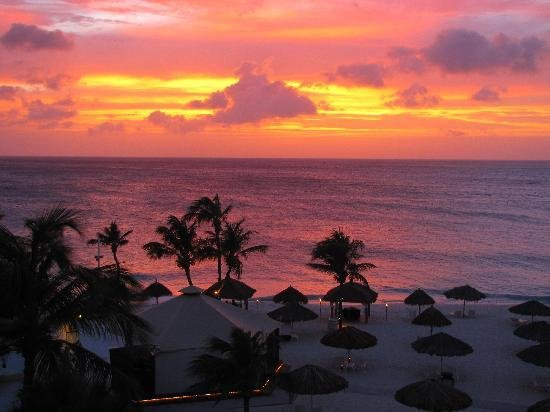 Sunset from our penthouse suite - 棕櫚/鷹海灘Bucuti & Tara Beach Resorts Aruba的圖片