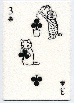pottering cat poker postcard