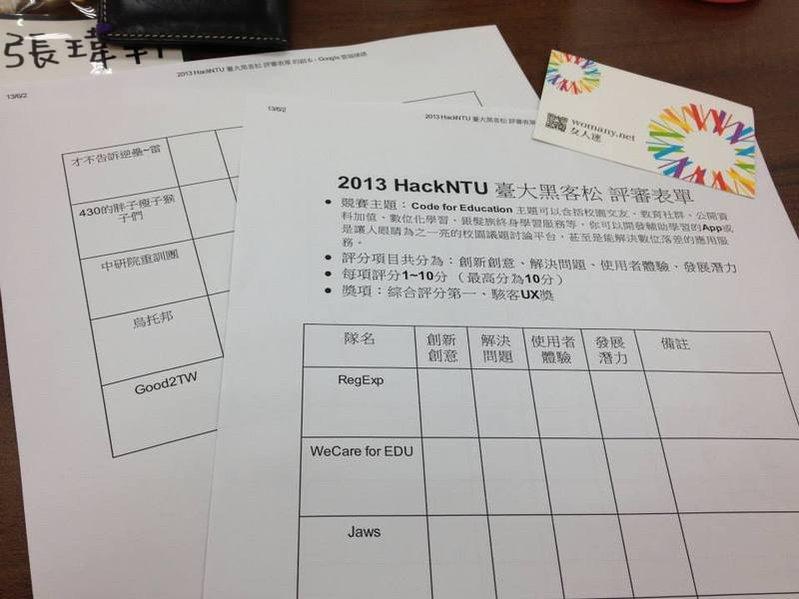 台灣大學第一屆黑客松 HackNTU
