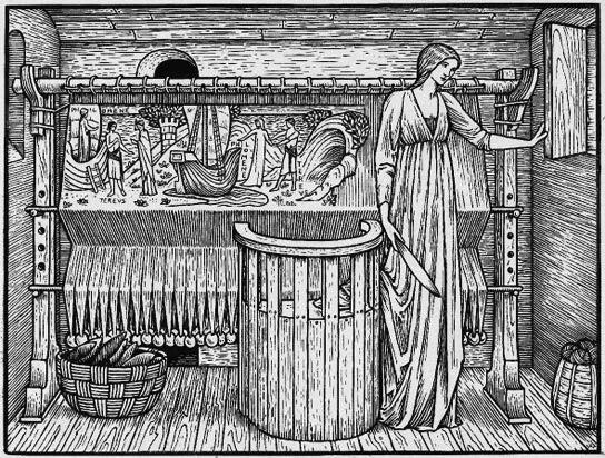 在愛德華.伯恩瓊斯(Edward Burne-Jones)繪製於1896年這幅深具「中世紀」風格的畫作當中,無法說話的菲勒美拉將自己遭到強暴的遭遇織入了她身後的那塊布裡。