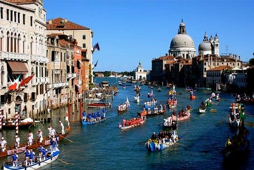 Gondola Regatta in Venice, down the Grand Canal