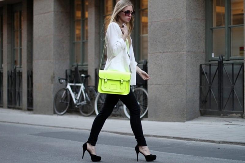 cambridge satchel neon street style