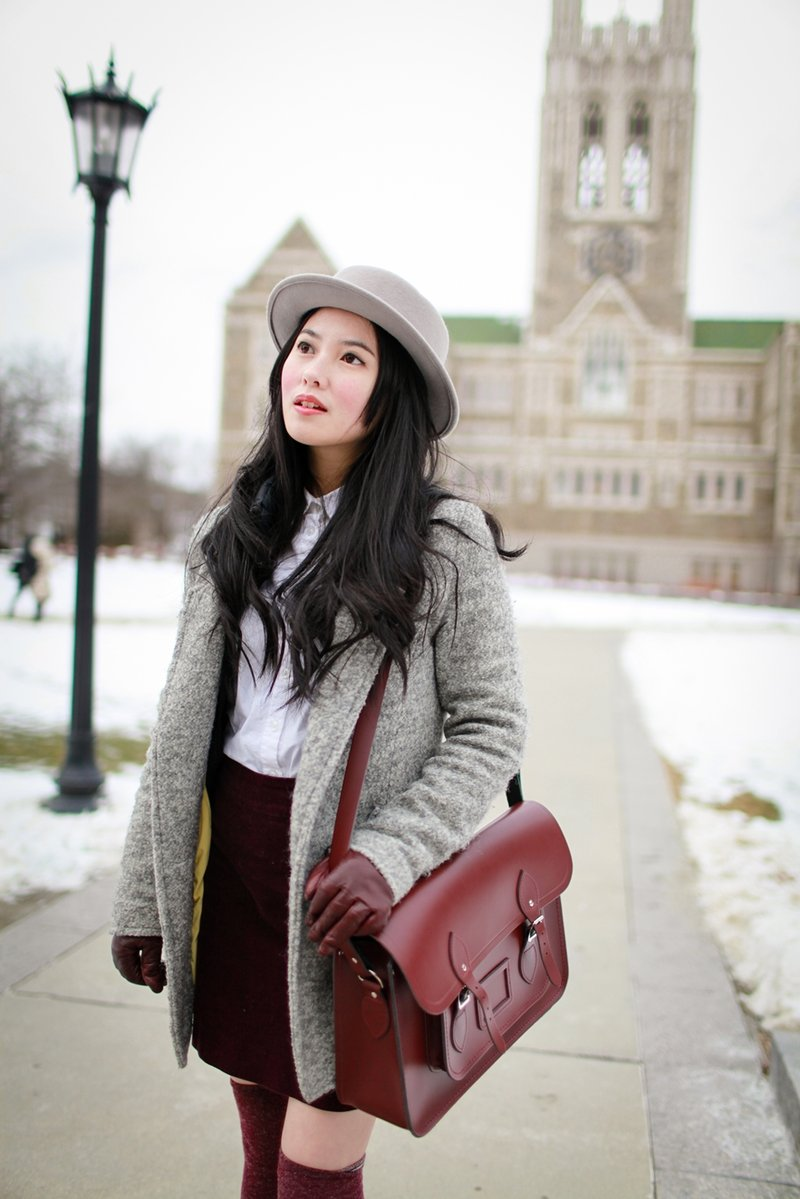 Burgundy cambridge satchel