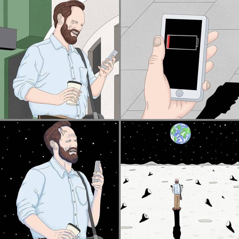 沒有手機就像世界末日?人生都是虛擬的?英國插畫家寫實描繪人性黑暗面-0