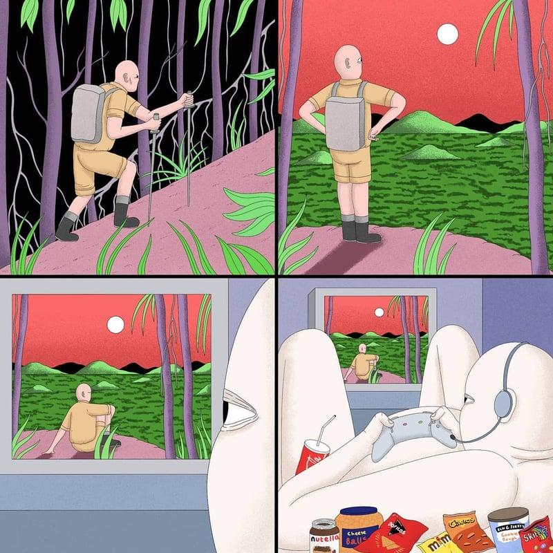 沒有手機就像世界末日?人生都是虛擬的?英國插畫家寫實描繪人性黑暗面-4
