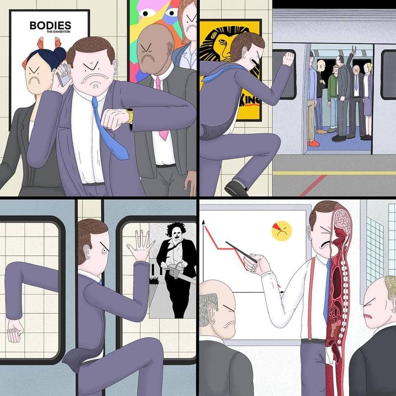 沒有手機就像世界末日?人生都是虛擬的?英國插畫家寫實描繪人性黑暗面-6