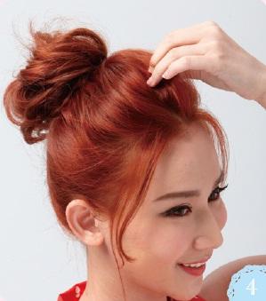 頭頂區域的髮絲不要過緊,建議用手指輕輕的拉出線條感,避免頭頂扁塌。
