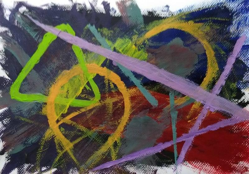 當初在創作這幅畫的時候,想表達的是一種社會框架的理念。社會框架橫豎如此,鮮明而稜角,但情緒波濤暗地洶湧,難以假裝不存在。