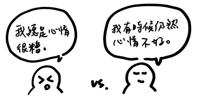 「我總是心情很糟」 vs 「我有時候仍然心情不好」