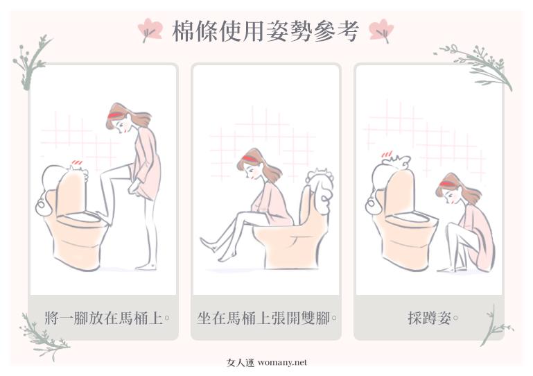 三種棉條使用姿勢:一腳放在馬桶上;坐在馬桶上張開雙腳;採蹲姿