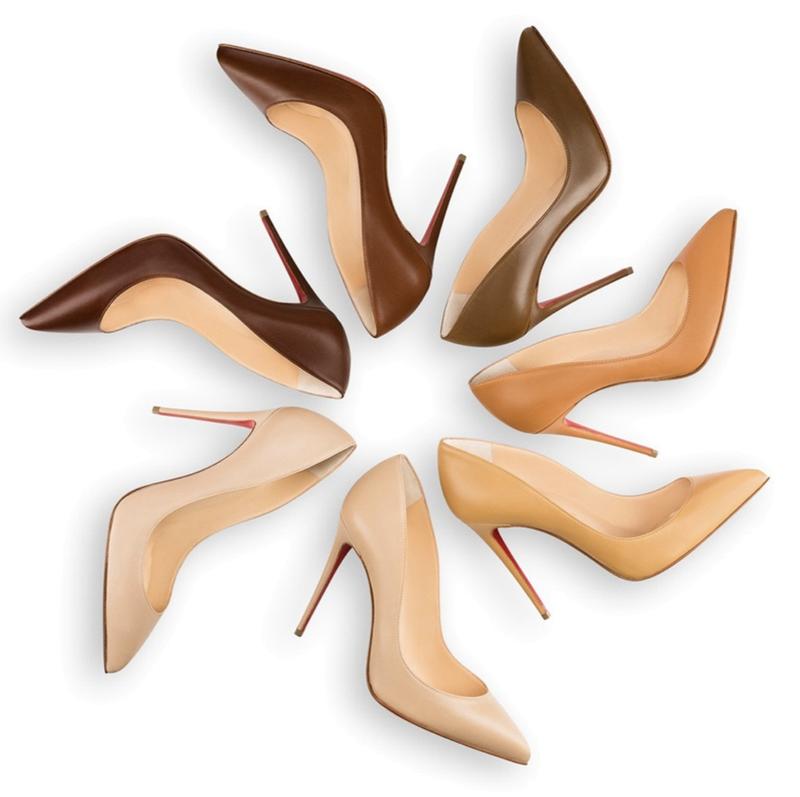 Christian Louboutin於2016年將旗下品牌的裸色系產品,擴大至7種深淺不同的色調。(網上圖片)