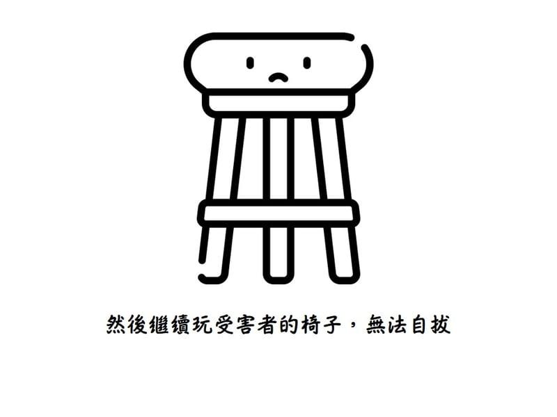 然後繼續完受害者的椅子,無法自拔。