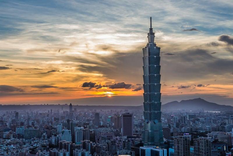 Taipei 101 during sunset