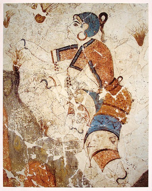 Cueilleuse de safran, fresque, Akrotiri, Grèce